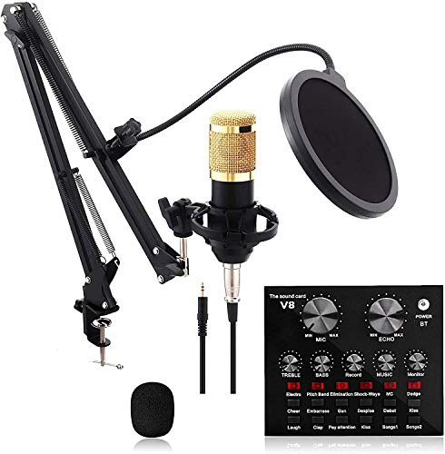 Microphone Sound Card Kit,Condenser Microphone with V8 Live Sound Card for Live Streaming, Singing, Youtube, Gaming,Condenser Microphone Kit with Cardioid Design for Game