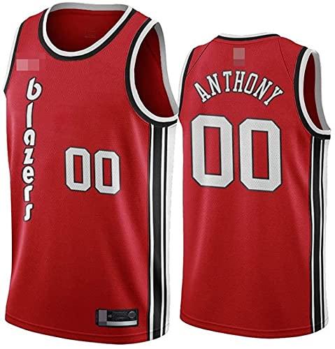 Ropa Jerseys de baloncesto de los hombres, NBA Portland Trail Blazers # 00 Carmelo Anthony, chaleco transpirable suelto Uniformes Classic Comfort Camiseta sin mangas Tops, Rojo, XL (180 ~ 185 cm)
