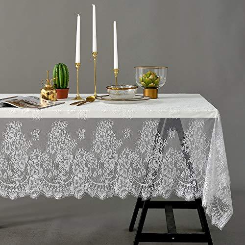Asunflower - Elegante Tovaglia In Pizzo Bianco Per Decorazione Di Nozze, 152,4 X 304,8 Cm, Con Frange, In Tessuto Di Pizzo, Per Feste, Matrimoni, Feste E Compleanni
