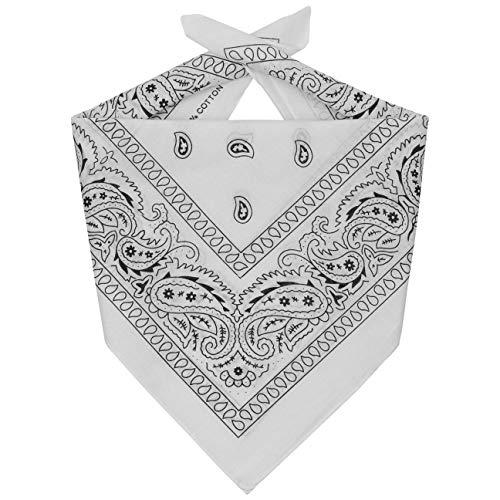 Lipodo Bandana Tuch Damen/Herren/Kinder - Kopftuch in weiß aus 100% Baumwolle - Multifunktionstuch in Einheitsgröße (55 x 55 cm) - vielfältige Tragemöglichkeiten