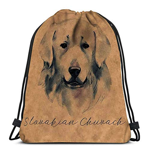 Lsjuee Backpack Drawstring Bag Slovakian Chuvach Slovak Cuvac Dog Breed with Long Fur Digital Art Watercolor Portrait