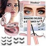 Fau Cils Magnétique, Eyeliner Magnetique, Magnetic Eyeliner Kit De Cils Magnétiques, Imperméable, Réutilisable 5 Aimants 3D Faux Cils sans Colle, avec Pincette