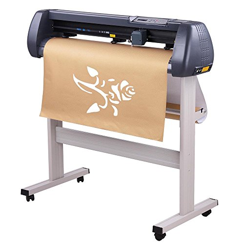 "34"" Vinyl Cutter Cutting Plotter Machine Three Adjustable Pinch-Rollers Backlight LCD Display Ball-Bearing Dual Roller Media System US Delivery"