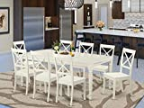East West Furniture DOBO9-LWH-W 9-Pcs modern dining table set 8 Excellent dining chairs - A Beautiful 4 legs dining table- Linen White Wooden Seat and Linen White Butterfly leaf dinner table