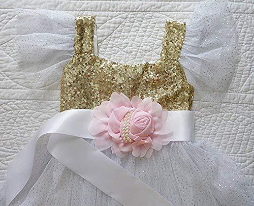 Girl's Ivory Satin Ribbon Floral Sash, Satin Ribbon Flower Belt, Pink Chiffon and Pearl Sash, Flower Girl Dress Sash Belt, Photo Prop, Kids Fashions.