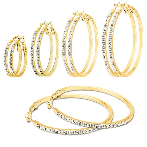 SoulCats® 1 Paar goldene Creolen mit Strass, Größe:Ø 6 cm