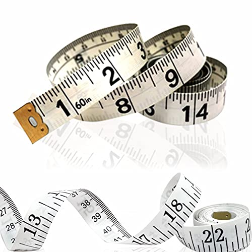 Dual Sided Measure Tape | Appropriate for Measuring Body | Cloth Sewing Tailor Inches Tape | One Side in Centimeters Other Side in Inches | White Colour Measuring Tape 150CM 60 Inches