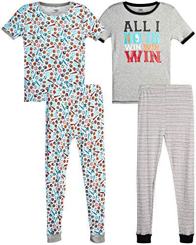 Only Boys Pajamas – 100% Cotton Snug Fit Sleep Shorts, Joggers, and Short Sleeve T-Shirt Pajama Set (4 Piece) (Heather Grey Sports, X-Large - 12)