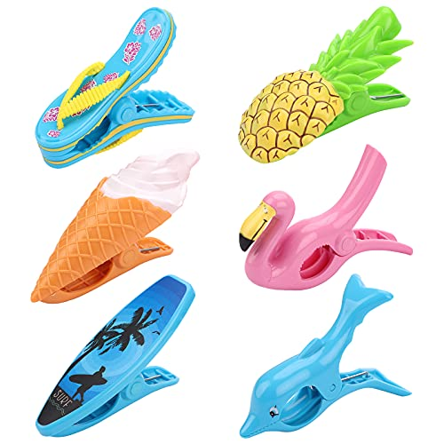 Hileyu 6 Piezas Grandes Playa Toalla Clips Pinzas Toallas Playa Pinzas Ropa Plastico Pinzas para Toallas Pinzas para Toallas de Piscina,Pinza de la Ropa, Pinzas para Ropa de plástico para tumbonas