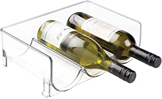 mDesign Modern Plastic Stackable Vertical Standing Wine Bottle Holder Stand - Storage Organizer for Kitchen Countertops, Pantry, Fridge - Rack Holds 3 Containers - Clear