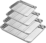 Umiten - Set di 4 teglie per biscotti in acciaio inox, 20,9 cm, non tossiche e resistenti e facili da pulire (set di teglie con griglia di raffreddamento da 4)