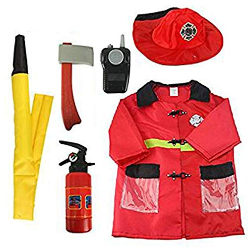 ShiyiUP Feuerwehrmann Kostüm Kinder 5 Teilige Cosplay Feuerwehr Set Feuerwehrmann-Anzug Jungen Mädchen Jacke sprechfunkgeräte Spielzeug