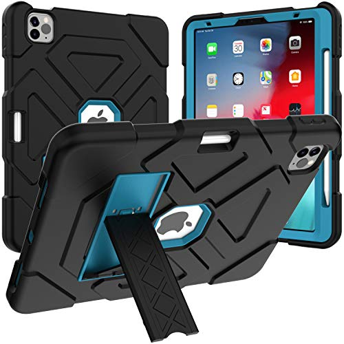 Case for 2020 iPad Air 4th Generation, Techcircle Heavy Duty 3-Layer Hybrid Cover Kickstand Shockproof Silicone+PC Rugged Protective Case for iPad Air 4 10.9' and iPad Pro 11' 2020/2018, Black+Blue