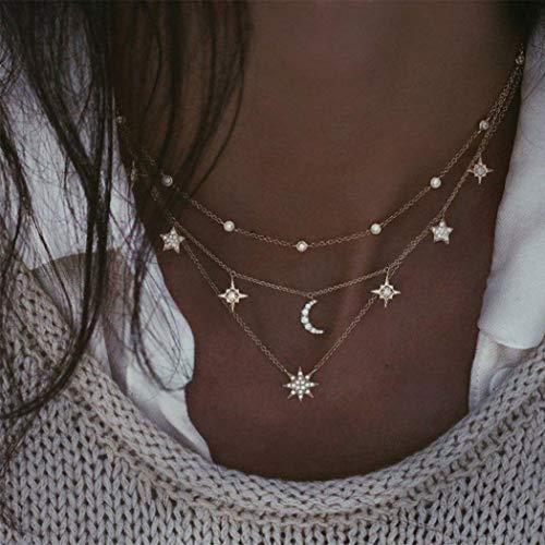 Mayelia - Collana girocollo in oro con stella, per donne e ragazze