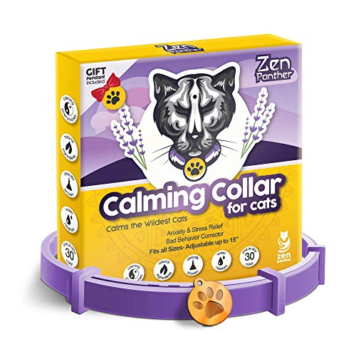 """ZEN PANTHER Calming Collar for Cats – Pheromone Cat Calm Collar - Anxiety Relief Lavender Scent - Reduces Stress – Adjustable 15"""" Relaxing Collar for Kitten – Stop Aggression and Anxious Behavior"""