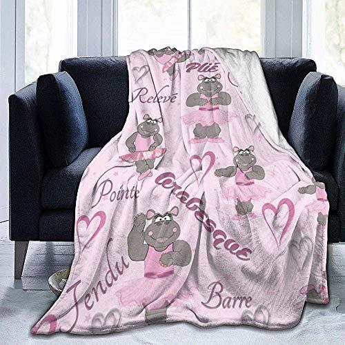 Ballerina Hippo Ballerina Gettara-deken, super zacht, luxueus, warm, voor alle seizoenen, 80 x 60 inch