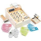 New Classic Toys- Eitech GmbH 10651 Registratore di Cassa con Soldi, Scanner e Carte bancarie, Accessori per Carica, in Legno, Colore Set-Bianco