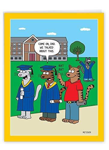 NobleWorks - Jumbo Funny Card for Graduation (8.5 x 11 Inch) - Big Humor Greeting Notecard for Students, Graduate - Cat Grad