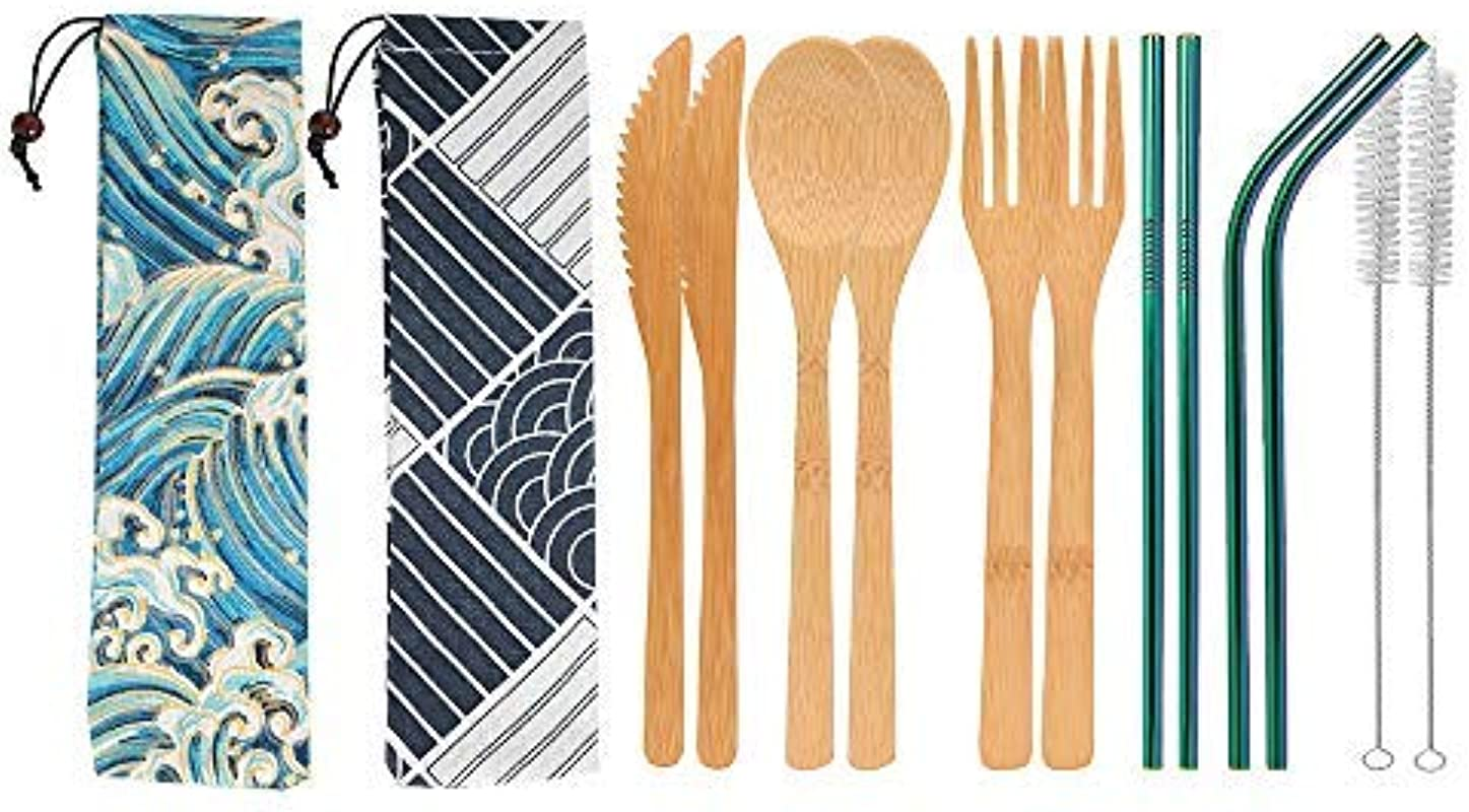 UPTRUST 2 Set Bamboo Cutlery Set Bamboo Travel Utensils Reusable Bamboo Utensils With Case 7 8 Inches Bamboo Knife Fork Spoon 3 Colors Metal Straw Portable Travel Set Rainbow Straw