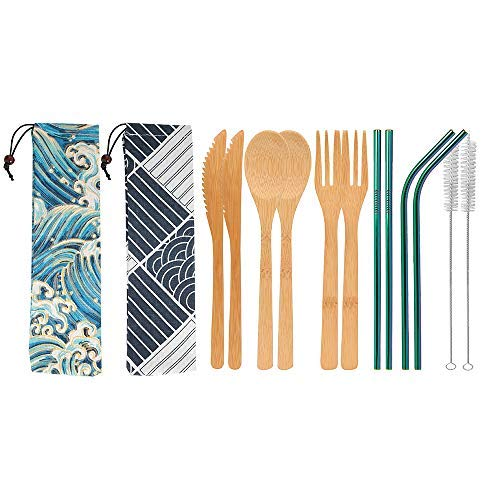 UPTRUST 2 Set Bamboo Cutlery Set Bamboo travel Utensils reusable bamboo utensils with case, 7.8 Inches Bamboo Knife, Fork, Spoon, 3 colors Metal Straw Portable Travel Set. (Rainbow Straw)