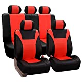FH Group FH-PU003115 Racing PU Leather Car Full Set Seat Covers, Airbag Ready and Split, Tangerine/Black Color - Fits Most Cars, Trucks, Suv's, or Vans