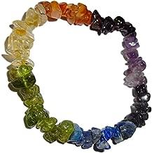 #1 Best Seller!!!! 1 Natural Multi Gemstone Chakra Crystal Healing Chip Gemstone 7 Inch Stretch Bracelet.