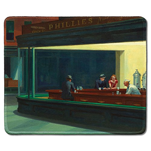 dealzEpic - Art Mousepad - Natural Rubber Mouse Pad Printed with Nighthawks by Edward Hopper - Stitched Edges - 9.5x7.9 inches