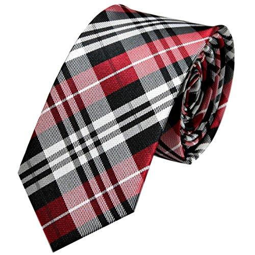 GASSANI Schmale dünne 6cm Krawatte kariert   Karo Herrenkrawatte zum Sakko Anzug   Schlips Binder mit Schwarze Graue Rote Karos