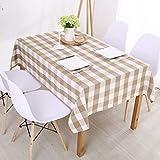 AdorabTable Manteles Mantel de Mesa Tablecloths Impermeable Algodón Cuadros Rectangular Fresco Marrón Claro 120X160CM