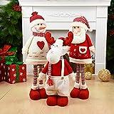 Navidad muñecas retráctil Santa Claus muñeco de nieve Elk Juguetes de Navidad Figuras regalo de Navidad para Niños ornamento rojo del árbol de Navidad (al azar)