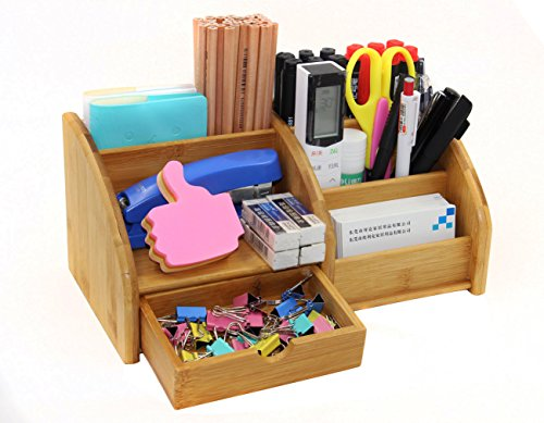 PAG Bamboo Desk Organizer Pencil Holder Office Supplies and Accessories Storage Caddy with Drawer for Men Women Girls, 7 Compartments