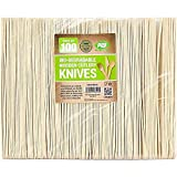 100 x Enviro Wooden Knives - Biodegradable Compostable Disposable Cutlery 100% Birchwood