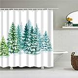 XCBN Piante Verdi Tropicali Alberi di Foglie di Palma Fiore Tende da doccia per bagno Set Tenda da bagno impermeabile con ganci A14 90x180cm