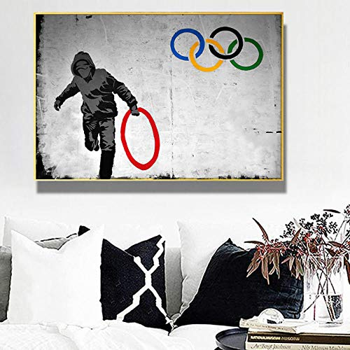 OCRTN Banksy Hold Olympics Ring Graffiti Art Abstract Canvas Painting Posters and Prints Wall Art Home Decor Modern Popular Wall Decoration/50x70cm No Frame