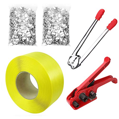 Pallet Packaging Strapping Banding Kit Tensioner Tool Sealer, 3200' Length x 1/2' Wide Coil Reel for Packing (Yellow)