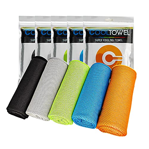 5 Pack Cooling Towels, Soft Breathable Microfiber Ice Towel for Gym, Running, Golf, Workout, Camping, Fitness, Travel, Super Absorbent Lightweight Towel for Outdoor Sports Instant Cooling Relief