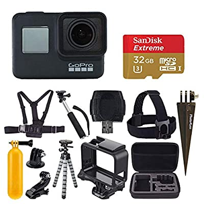 GoPro HERO7 Black Digital Action Camera with 4K HD Video 12MP Photos, SanDisk 32GB Micro SD Card, Hard Case - Gopro Hero 7 Accessory bundle from GoPro
