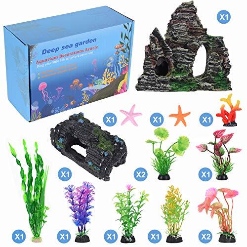 QZQ 14 Pack Aquarium Fish Tank Decorations Accessories Decor Set Aquarium Decorations Include Resinous Rockery Barrel Hideouts Coral Aquarium Plants and Resin Starfish and Other