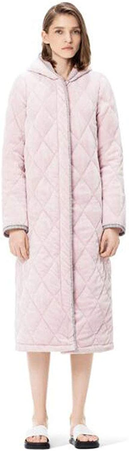 NAN Liang 100% Cottonbathrobes ThreeLayer Quilted Sleepwear Female Winter Thick Warm Hooded Dressing Gown Ultra Soft Wrap Robe (Size   XL)