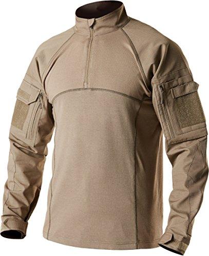 CQR Men's Combat Shirt Tactical 1/4 Zip Assault Long Sleeve Military BDU Shirts Camo EDC Top, Combat Shirts(tos201) - Coyote, Small