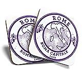 Gran posavasos (juego de 2) cuadrado/brillante calidad posavasos/mantel de protección para cualquier tipo de mesa – Roma Capitale Roma Italia mapa de viaje #6045