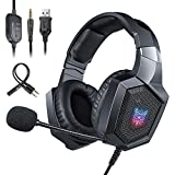 Cuffie Gaming per PS4, ONIKUMA Headset Gaming con microfono Cancellazione del Rumore, Controllo del Volume, Illuminazione a LED RGB/Jack 3.5mm per PS4/Xbox One X/S/Nintendo Switch/PC/Laptop - Nero