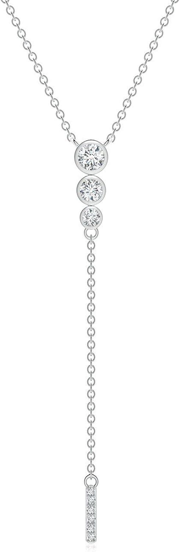 Three Stone Graduated Bezel-Set Diamond Lariat Necklace (0.257 cttw Diamond)