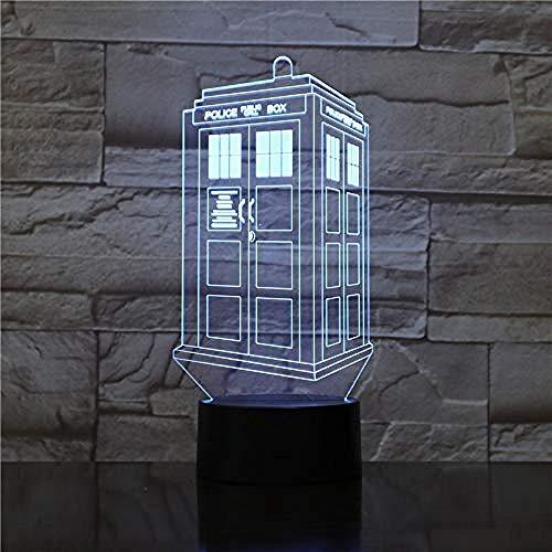 Smart Bluetooth Color Ambiance Tragbares Licht 3D-Nachtlicht für Kinder Jungen Mädchen LED Police Box Illusionslampe 7 Farbwechsel Schreibtisch Tischleuchte Lampe für Schlafzimmer neben Tischdek