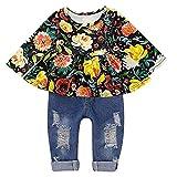 DaMohony, Vestiti per bambine con maglietta floreale a maniche lunghe e jeans strappati Nero  100 cm 2-3 anni
