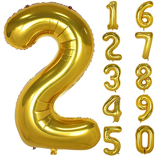 onehous Gold Luftballon Zahlen, 100cm 40inch Riesige Golden Folienballon Zahl Geburtstagsdeko (Zahl 2)