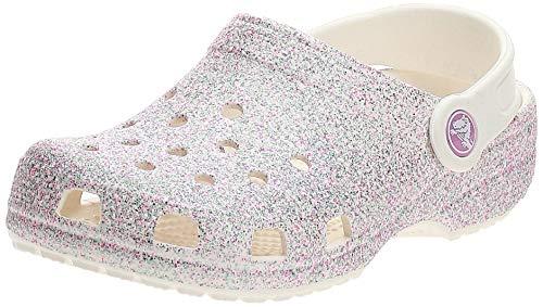 Crocs Classic Glitter Clog K, Zuecos Unisex Niños, Blanco (Oyster 159), 32/33 EU