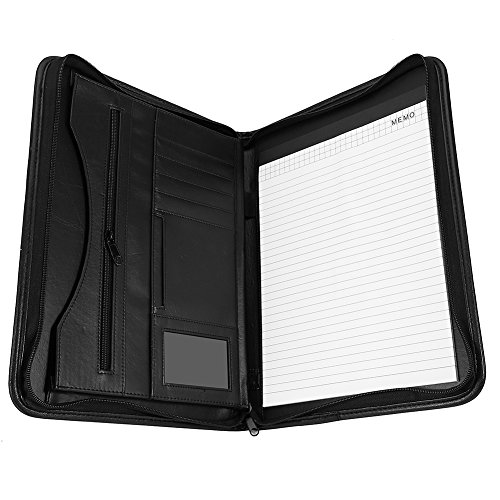 A4conferencia carpeta, organizador Personal, Ejecutivo de piel sintética con cremallera cartera con tarjetero, ranuras para tarjetas//Pad/papel, negro