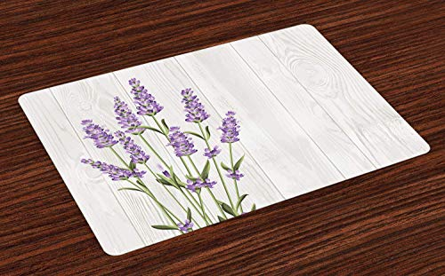 Lavender Placemats for Dining Table, Aromatic Herbs Bouquet on Rustic Wood Planks...