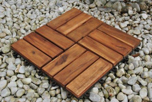 Einzelfliese 02, Terrassenfliese aus Akazien-Holz, Holz-Fliese mit 12 Latten für Garten Terrasse Balkon, Balkon Bodenbelag mit Drainage-Unterkonstruktion für problemfreien Wasserablauf unter den Fliesen